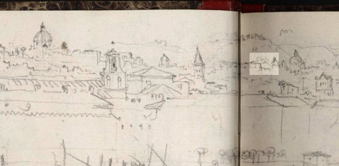 J.M.W.Turner Rome from Mount Aventine, 1828 From the Rimini to Rome sketchbook, TB CLXXVIII 4a-5 Castel Sant Angelo is barely recognisable in the sketch.