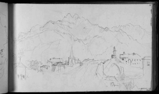 J.M.W.Turner The Aiguille de Varan from across St Martin's bridge, near Sallanches, 1836 Pencil on paper, page size 113 x 190 mm From the Val d'Aosta sketchbook, Tate Britain, London, TB CCXCIII 28 Turner probably stayed in the Hotel du Mont Blanc at the far side of the bridge. The summit of the Aiguille de Varan is nearly two vertical kilometres above the bridge. Image courtesy of Tate; to see the original image in the online catalogue of the Turner Bequest click on the following link, then press your browser's 'back' button to return to this page: http://www.tate.org.uk/art/artworks/turner-the-aiguille-de-varan-from-st-martins-bridge-d29086