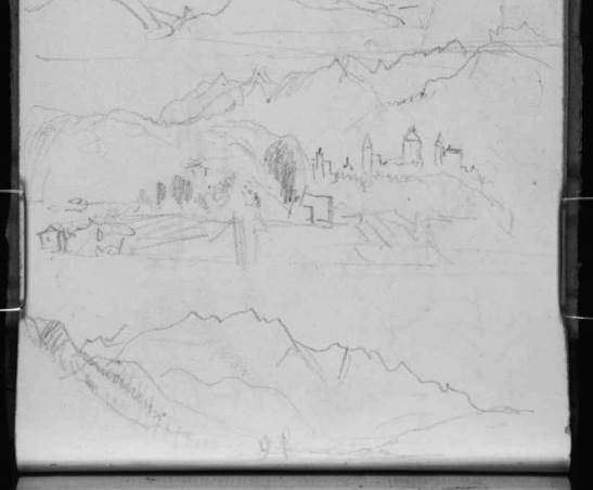 J.M.W.Turner Sketches in the Arve Valley (detail), 1836 Pencil on paper, page width 113 mm From the Val d'Aosta sketchbook, Tate Britain, London, TB CCXCIII 28a (detail of lower part of page) Turner's first thought at Sallanches was to reconsider subjects from his previous visit of 1802. Here he takes a two-part panorama of the view of Sallanches from St Martin, swinging round to the left to take in the view of Mont Blanc. Image courtesy of Tate; to see the original image in the online catalogue of the Turner Bequest click on the following link, then press your browser's 'back' button to return to this page: http://www.tate.org.uk/art/research-publications/jmw-turner/joseph-mallord-william-turner-five-sketches-in-the-arve-valley-at-cluses-and-sallanches-r1167978