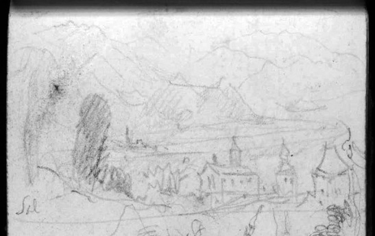 J.M.W.Turner Two Sketches: Looking Down the Val d'Aosta to Courmayeur and Dolonne, and The Aiguille de Varan and Mont Blanc from Above Sallanches (detail of the sketch of Sallanches), 1836 Pencil on paper, page width 113 mm From the Val d'Aosta sketchbook, Tate Britain, London, TB CCXCIII 37 detail With the Tour de la Frasse and the Tour de Disonche framing the Church of St Jacques. Turner incorporates two different viewpoints in the one sketch, so as to more tellingly integrate the buildings with the mountains. At this time the church tower had an onion spire on its turret. This was the casualty of a fire in 1840. Image courtesy of Tate; to see the original image in the online catalogue of the Turner Bequest click on the following link, then press your browser's 'back' button to return to this page: http://www.tate.org.uk/art/research-publications/jmw-turner/joseph-mallord-william-turner-two-sketches-looking-down-the-val-daosta-to-courmayeur-and-r1167993