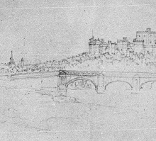 J.M.W.Turner Lancaster Bridge and Castle from the North-East, 1816 Detail of bridge