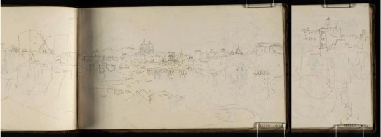 J.M.W.Turner View of Rome from the River Tiber, with the Ponte Rotto, 1819 From the Albano, Nemi, Rome sketchbook, TB CLXXXI 42a-43, 44 Page size, 113 x 189 mm Photo courtesy of Tate Click on the image to enlarge To see the image in the Tate's online catalogue of the Turner Bequest, click on the following link, and press your browser's 'back' button to return to this page: http://www.tate.org.uk/art/artworks/turner-view-of-rome-from-the-river-tiber-with-the-ponte-rotto-d15376