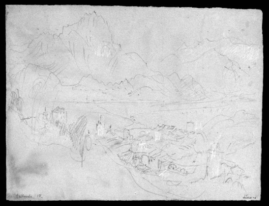J.M.W.Turner The Arve Valley, with the Aiguille de Varan and Mont Blanc from above Sallanches, 1836 Pencil and scratching-out on grey paper, faded to a pinkish tone, 238 x 312 mm 'Miscellanous: Black and White', Tate Britain, London, TB CCCXLII 75 From the northern edge of the valley of the Torrent de Sallanches near the later (1855) Chapel of the Immaculate Conception. Image courtesy of Tate; to see the original image in the online catalogue of the Turner Bequest click on the following link, then press your browser's 'back' button to return to this page: http://www.tate.org.uk/art/artworks/turner-sallenche-d34277