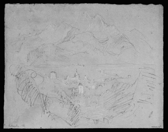 J.M.W.Turner The Arve Valley, with the Aiguille de Varan from above Sallanches, 1836 Pencil and scratching-out on grey paper, faded to a pinkish tone, 238 x 312 mm 'Miscellanous: Black and White', Tate Britain, London, TB CCCXLII 76 From the left scarp of the torrent de Sallanches, a little way further up the Route de Lavaud from the Chapel of the Immaculate Conception, so as to bring  the Chateau des Rubins and the Church of St Jacques more in line, and excluding Mont Blanc to the right. The area  today is enclosed by private houses.  Image courtesy of Tate; to see the original image in the online catalogue of the Turner Bequest click on the following link, then press your browser's 'back' button to return to this page: http://www.tate.org.uk/art/artworks/turner-sallenche-d34278