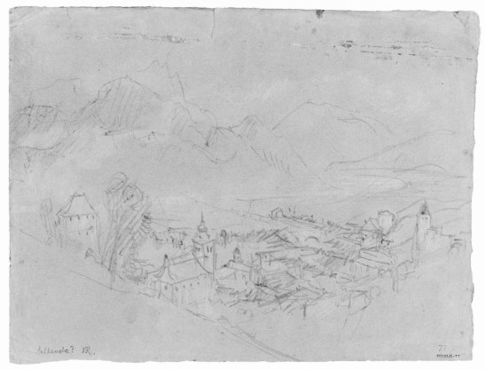 J.M.W.Turner The Arve Valley, with the Aiguille de Varan and Mont Blanc from above Sallanches, 1836 Pencil and scratching-out on grey paper, faded to a reddish tone, 238 x 312 mm 'Miscellanous: Black and White', Tate Britain, London, TB CCCXLII 77 From the northern scarp of the torrent de Sallanches at the foot of the Gorges de Levaud. The area is today covered in trees. Image courtesy of Tate; to see the original image in the online catalogue of the Turner Bequest click on the following link, then press your browser's 'back' button to return to this page: http://www.tate.org.uk/art/artworks/turner-sallanches-d34279