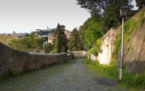The Clivo di Rocca Savella, Rome Photograph by David Hill, taken 11 April 2015, 16.15 GMT This street leads up the northern scar of Mount Aventine from the river. In Turner's day it appears to have been the only publically accessible elevated view over Rome from this area.