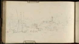 J.M.W.Turner The Porto di Ripa Grande, Rome, 1819 From the Albano, Nemi, Rome sketchbook, TB CLXXXI 41a Page size, 113 x 189 mm Photo courtesy of Tate Click on the image to enlarge To see the image in the Tate's online catalogue of the Turner Bequest, click on the following link, and press your browser's 'back' button to return to this page: http://www.tate.org.uk/art/artworks/turner-the-porto-di-ripa-grande-rome-d15373