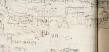 J.M.W.Turner Rome from Mount Aventine, 1828 From the Rimini to Rome sketchbook, TB CLXXVIII 5a Detail of his record of the Ponte Rotto