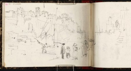 J.M.W.Turner Mount Aventine from the Ripa Grande, 1828 From the Rimini to Rome sketchbook, TB CLXXVIII 51-50a, hitherto called 'Town on Hill' Page size, 97 x 132 mm Photo courtesy of Tate Click on the image to enlarge To see the image in the Tate's online catalogue of the Turner Bequest, click on the following link, and press your browser's 'back' button to return to this page: http://www.tate.org.uk/art/artworks/turner-town-on-hill-d14923