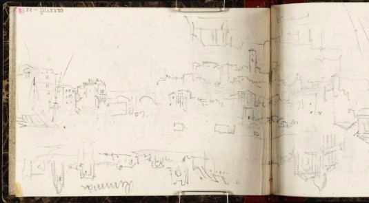 J.M.W.Turner The Ponte Rotto, Rome and the Capitoline Hill, from below Mount Aventine, 1828 From the Rimini to Rome sketchbook, TB CLXXVIII 52-51a, hitherto called 'Views of Town. Rimini [Turner]' Page size, 97 x 132 mm Photo courtesy of Tate Click on the image to enlarge To see the image in the Tate's online catalogue of the Turner Bequest, click on the following link, and press your browser's 'back' button to return to this page: http://www.tate.org.uk/art/artworks/turner-views-of-town-rimini-turner-d14925