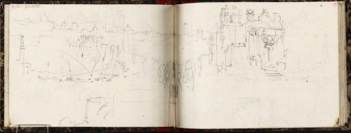 J.M.W.Turner Rome and the Ripa Grande from Mount Aventine, in front of the Chapel of the Knights of Malta, 1828 From the Rimini to Rome sketchbook, TB CLXXVIII 53-52a, hitherto called 'Harbour, with Town on Hill' Page size, 97 x 132 mm Photo courtesy of Tate Click on the image to enlarge To see the image in the Tate's online catalogue of the Turner Bequest, click on the following link, and press your browser's 'back' button to return to this page: http://www.tate.org.uk/art/artworks/turner-harbour-with-town-on-hill-d14927