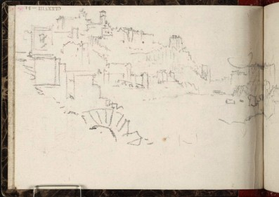 J.M.W.Turner View down the Tiber to Mount Aventine, 1828 From the Rimini to Rome sketchbook, TB CLXXVIII 54, hitherto called 'Harbour, with Town on Hill' Page size, 97 x 132 mm Photo courtesy of Tate Click on the image to enlarge To see the image in the Tate's online catalogue of the Turner Bequest, click on the following link, and press your browser's 'back' button to return to this page: http://www.tate.org.uk/art/artworks/turner-harbour-with-town-on-hill-d14929