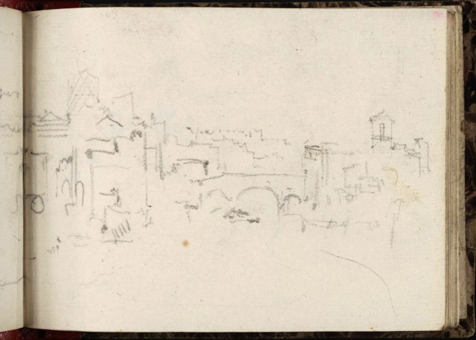 J.M.W.Turner View up the Tiber to the Ponte Cestio and Isola Tiberina, from the end of the Ponte Rotto, 1828 From the Rimini to Rome sketchbook, TB CLXXVIII 54a, hitherto called 'Bridge, with Town' Page size, 97 x 132 mm Photo courtesy of Tate Click on the image to enlarge To see the image in the Tate's online catalogue of the Turner Bequest, click on the following link, and press your browser's 'back' button to return to this page: http://www.tate.org.uk/art/artworks/turner-bridge-with-town-d14930