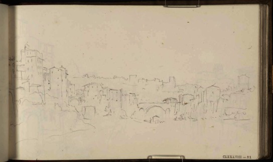The Isola Tiberina, Rome, Looking towards the Aventine Mount, 1819 From the St Peter's sketchbook, TB CLXXXVIII 31 Page size, 114 x 189 mm Photo courtesy of Tate Click on the image to enlarge To see the image in the Tate's online catalogue of the Turner Bequest, click on the following link, and press your browser's 'back' button to return to this page: http://www.tate.org.uk/art/artworks/turner-the-isola-tiberina-rome-looking-towards-the-aventine-mount-d16212