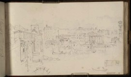 J.M.W.Turner The Eastern Bank of the Tiber, Rome, with the Ponte Rotto, Cloaca Maxima, Temple of Hercules and Santa Maria in Cosmedin, 1819 From the St Peter's sketchbook, TB CLXXXVIII 52 Page size, 114 x 189 mm Photo courtesy of Tate Click on the image to enlarge To see the image in the Tate's online catalogue of the Turner Bequest, click on the following link, and press your browser's 'back' button to return to this page: http://www.tate.org.uk/art/artworks/turner-the-eastern-bank-of-the-tiber-rome-with-the-ponte-rotto-cloaca-maxima-temple-of-d16249