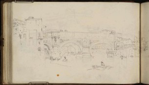J.M.W.Turner Ponte Rotto, Rome, 1819 From the St Peter's sketchbook, TB CLXXXVIII 52a Page size, 114 x 189 mm Photo courtesy of Tate Click on the image to enlarge To see the image in the Tate's online catalogue of the Turner Bequest, click on the following link, and press your browser's 'back' button to return to this page: http://www.tate.org.uk/art/artworks/turner-ponte-rotto-rome-d16250