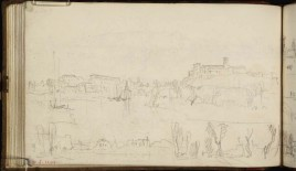J.M.W.Turner Three Sketches of the River Tiber, Rome, including the Porto di Ripa Grande and the Aventine Hill, and the Pyramid of Cestius, 1819 From the St Peter's sketchbook, TB CLXXXVIII 54a Page size, 114 x 189 mm Photo courtesy of Tate Click on the image to enlarge To see the image in the Tate's online catalogue of the Turner Bequest, click on the following link, and press your browser's 'back' button to return to this page: http://www.tate.org.uk/art/artworks/turner-three-sketches-of-the-river-tiber-rome-including-the-porto-di-ripa-grande-and-the-d16254
