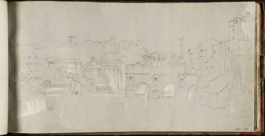 J.M.W.Turner View from the Isola Tiberina, Rome, with the Ponte Rotto and the Palatine Hill, 1819 From the St Peter's sketchbook, TB CLXXXVIII 56  Page size, 130 x 255 mm Photo courtesy of Tate Click on the image to enlarge To see the image in the Tate's online catalogue of the Turner Bequest, click on the following link, and press your browser's 'back' button to return to this page: http://www.tate.org.uk/art/artworks/turner-view-from-the-isola-tiberina-rome-with-the-ponte-rotto-and-the-palatine-hill-d16450