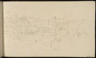J.M.W.Turner Isola Tiberina, Rome, with the Ponte Cestio and Ponte Fabricius, 1819 From the Rome and Florence sketchbook, TB CXCI 3 Page size, 113 x 189 mm Photo courtesy of Tate Click on the image to enlarge To see the image in the Tate's online catalogue of the Turner Bequest, click on the following link, and press your browser's 'back' button to return to this page: http://www.tate.org.uk/art/artworks/turner-isola-tiberina-rome-with-the-ponte-cestio-and-ponte-fabricius-d16489