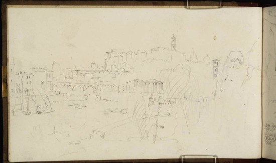 J.M.W.Turner The River Tiber, Rome, Looking towards the Ponte Rotto and the Capitoline Hill, 1819 From the Rome and Florence sketchbook, TB CXCI 4a Page size, 113 x 189 mm This sketch is from almost exactly the same angle of view as the painting, but from a lower point of view. Photo courtesy of Tate To see the image in the Tate's online catalogue of the Turner Bequest, click on the following link, and press your browser's 'back' button to return to this page: http://www.tate.org.uk/art/artworks/turner-the-river-tiber-rome-looking-towards-the-ponte-rotto-and-the-capitoline-hill-d16491