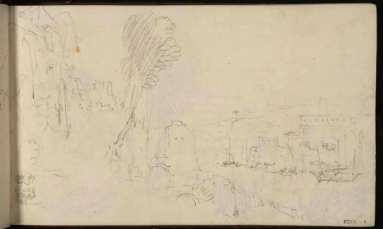 J.M.W.Turner The Porto di Ripa Grande, Rome, from the Opposite Bank of the River Tiber, 1819 From the Rome and Florence sketchbook, TB CXCI 5 Page size, 113 x 189 mm Photo courtesy of Tate Click on the image to enlarge To see the image in the Tate's online catalogue of the Turner Bequest, click on the following link, and press your browser's 'back' button to return to this page: http://www.tate.org.uk/art/artworks/turner-the-porto-di-ripa-grande-rome-from-the-opposite-bank-of-the-river-tiber-d16492