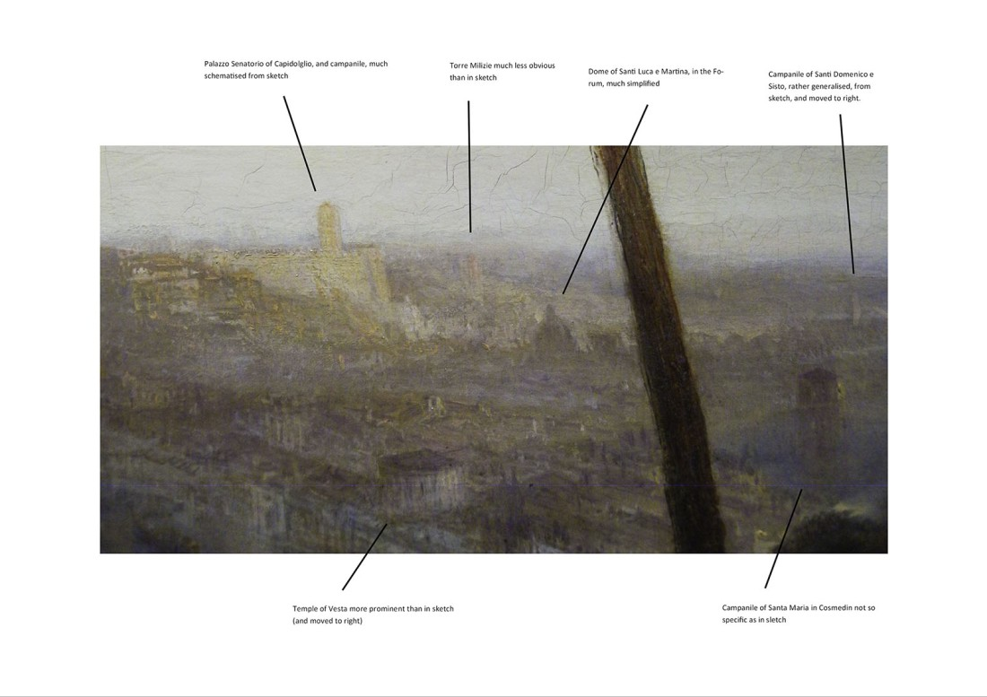J.M.W.Turner Rome from Mount Aventine, 1828 Detail of right side. Annotations by David Hill