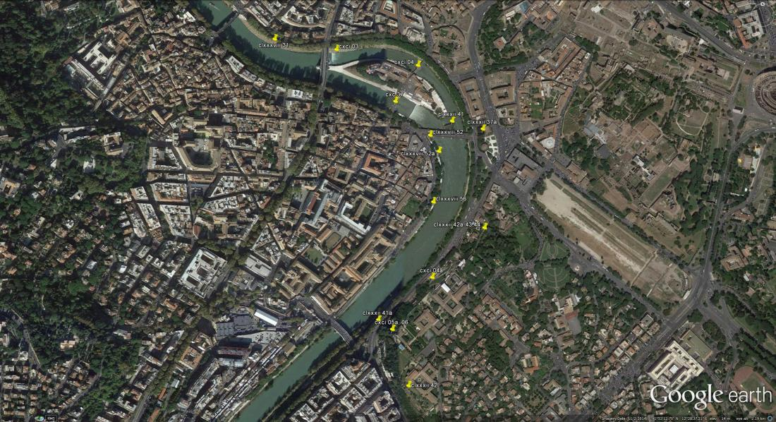 Google Earth Aerial view: Turner's 1819 sketches in the Mount Aventine Area Click on image to view full size