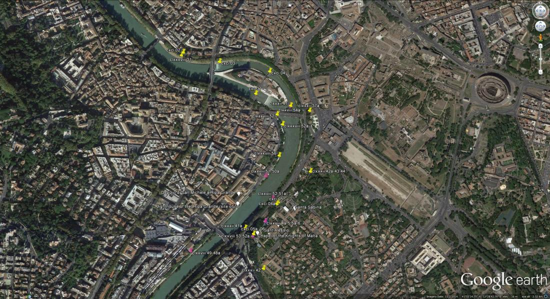 Google Earth image of Mount Aventine area, plotting Turner's sketches of 1819 (yellow) and 1828 (magenta).  Click on image to enlarge.]