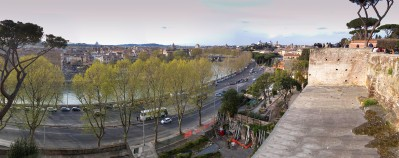 Rome from the Giardino degli Aranci, Mount Aventine Photograph by David Hill taken 11 April 2015, 16.21 GMT The Giardino degli Aranci, or Parco Savello as it is also called, was created as a public park and belvedere in 1937. It commands one of the best panoramas in modern Rome and provides a calm retreat under its orange trees. In Turner's day there was no public access to these gardens and he had to be content with sketching the view in TB CLXXXI 42a-43, 44 from the cobbled roadway below, the Clivo di Rocca Savella. At the centre of this photograph the domes of San Carlo Catinari (nearer) and Santa Andrea della Valle (further away) are directly in line, with San Carlo perfectly hiding Santa Andrea. In Turner's sketch Santa Andrea comes out slightly to the right. In his later sketch from Santa Alessio, (see below) Santa Andrea comes out clear to the left.
