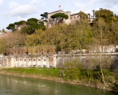 Chapel of the Knights of Malta, from Ponte Sublico, Rome Photograph by David Hill, taken 11 April 2015, 15.43 GMT Turner was obviously trying to work out some way of getting a view from the terraces of the Aventine. It is quite frustrating from this angle. All of the terraces in Turner's day were private (most still are) and there is in any case no direct access up onto the Aventine from this corner.