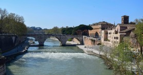 The Ponte Cestio from the Ponte Palatino, Rome. Photograph by David Hill taken 12 April 2015, 14.49 GMT This photograph shows more-or –less the same field of view as Turner's sketch TB CLXXX!! 41. The Ponte Cestio was rebuilt in the 1880s in its present form. Turner's sketch was actually taken from the end of the Ponte Rotto, which is slightly further left but the exact viewpoint is no longer accessible