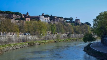 Mount Aventine from the Ponte Palatino, Rome Photograph by David Hill, taken 12 April 2015, 16.20 GMT Turner seems to have been scanning the mount for possible viewpoints. His final viewpoint is on the terrace to the right, under the umbrella pines.