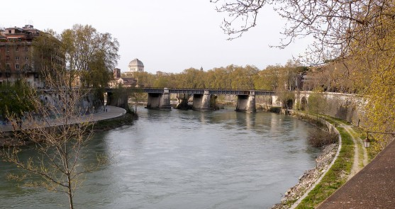 Towards the Ponte Rotto from beneath Mount Aventine Photograph by David Hill, taken 11 April 2015, 16.10 GMT