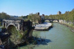 Looking up the river Tiber over the Ponte Rotto to Tiber Island from the Ponte Palatino, Rome Photograph by David Hill taken 12 April 2015, 14.44 GMT Taken from the same line of sight as Turner's sketch TB CLXXXII 41. Turner's actual viewpoint is at the end of the Ponte Rotto, but is not accessible today. It is noteworthy that Turner restricted himself to the Ponte Cestio in his sketch, when the Ponte Fabricus is as much a feature from this viewpoint. The Ponte Rotto obscures the Ponte Cestio in this shot, which opens to view to the left of the Ponte Rotto in the next photograph.