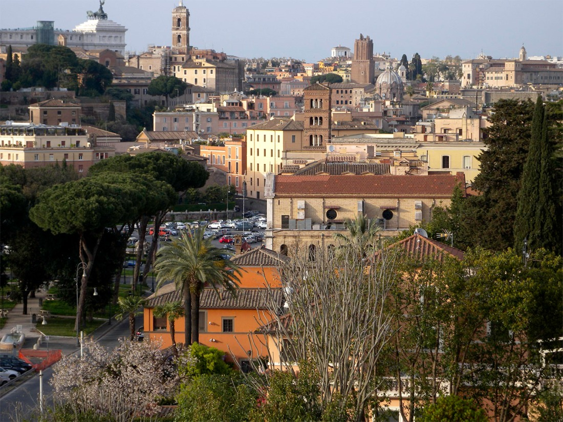 The Capitoline and Imperial Forum from Mount Aventine, Rome Photograph by David Hill taken 11 April 2015, 16.24 GMT Click on image to enlarge