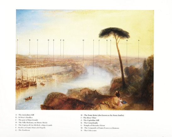 Sotheby's special catalogue. Several details are wrong: D is not the Villa Madama, but rather the Villa Mellini; F Is the Chiesa di San Carlo ai Catinari; M is the Campanile of Santa Maria in Cosmedin; N is not the Colosseum (not visible from here)]