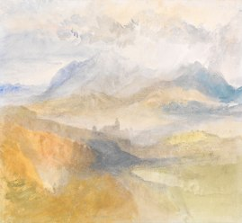 J.M.W.Turner Sallanches, Savoy, 1836 Watercolour, 9 3/4 x 10 3/4 ins, 249 x 273 mm Exhibited by Lowell Libson Ltd in New York, January, 2015 as ''A distant view over Chambéry, from the North, with storm clouds' This article stands by my 2000 identification of the subject as the view of Sallanches from the northern lip of the Gorges de Levaud, looking down to the Eglise St Jacques, with the Aiguille de Varan in the distance. Photograph courtesy of Lowell Libson Ltd. To view this watercolour on the Lowell Libson website click on the following link, then use your browser's 'back' button to return to this page: http://www.lowell-libson.com/pictures/a-distant-view-over-chambery-from-the-north-with-storm-clouds Click on image to enlarge