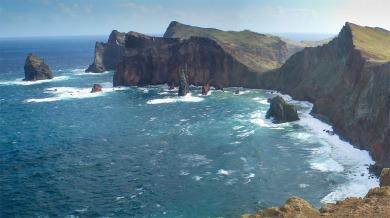 Point Lorenzo, Madeira Photograph by Professor David Hill, taken 18 February 2015, at 12.32 pm. From the Miradouro da Pedra Furada on the Ponta da Rosta, looking east over the north-facing cliffs of the Ponta de Sao Lourenco
