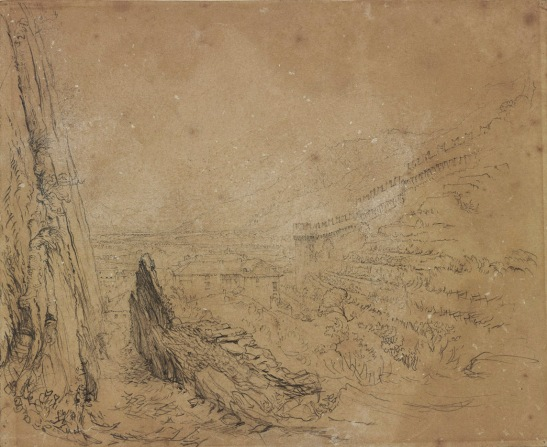 John Ruskin Bellinzona: The Salita della Nocca going up to Montebello Castle, 1858 Pencil on brown wove paper, 8 15/16 in. x 10 7/8 in, 227 x 276 mm Bowdoin College Museum of Art, Brunswick, Maine, USA, Gift of Miss Susan Dwight Bliss 1956.24.264d as 'Landscape Study (Bellinzona)' This drawing has long been identified as Bellinzona, but the viewpoint is here precisely identified for the first time. Photograph courtesy of Bowdoin College Museum of Art To view this image in Bowdoin's own online catalogue, please click on the following link and use your browser's 'back' button to return to this page: http://artmuseum.bowdoin.edu/Obj4228?sid=27317&x=16558