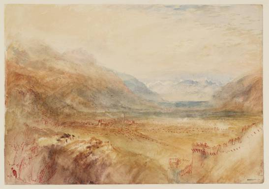 J M W Tuner Bellinzona: Looking South-West from Castello Montebello, 1843? Pencil, pen, and watercolour on paper, 227 x 327 mm Tate Britain, Turner Bequest TB CCCXXXVI 14 (D33592) Shortly before his visit to Bellinzona in 1858, Ruskin spent some considerable time sorting through the tens of thousands of Turner sketches and drawings that were given to the National Gallery. He knew the late Swiss subjects such as this especially well, and in making his way up the Salita della Nocca to Montebello Castle might well have been searching out the exact viewpoint of this sketch. Turner's viewpoint is near the top of the Salita, some distance higher than Ruskin's.  Photograph courtesy Tate To see this image in the Tate's own online catalogue click on the following link and use your browser's 'back' button to return to this page: http://www.tate.org.uk/art/artworks/turner-bellinzona-looking-south-west-from-castello-montebello-d33592