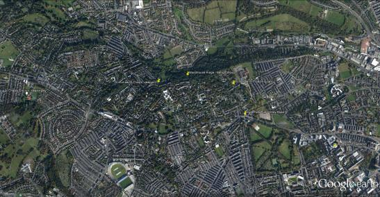 Grimshaw's Headingley Google Earth Satellite View, marking St Chad's, Woodhouse Ridge, Grimshaw's Cliff Road House and the University of Leeds Click on image to at view full size.