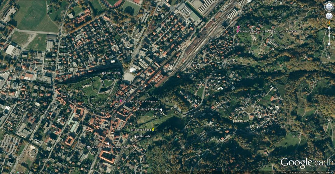 Google Earth aerial view of Bellinzona Marking the viewpoint of the Salita dell Nocca in yellow, and Ruskin viewpoints discussed in previous articles in magenta. Other landmarks have white placemarks. Click on image to open full size