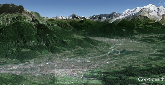 Google Earth image of Sallanches, showing general area of sketches. Aiguille de Varan in background to left, Mont Blanc to right. Click on image to enlarge