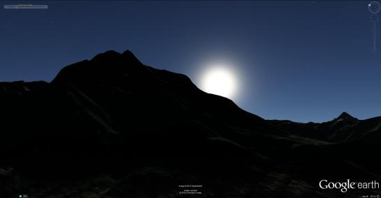 Google Earth visualisation of midsummer sunrise on the Aiguille de Varan