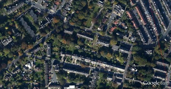 Google Earth Aerial View: TheTerraces of Far Headingley The right edge of Grimshaw's field of View is given in red at the right Click on image to enlarge.