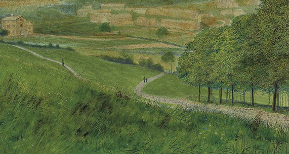 John Atkinson Grimshaw Leeds from Woodhouse Ridge, 1868 (detail of paths to the right) Leeds City Art Gallery Photograph courtesy of Leeds City Art Gallery.