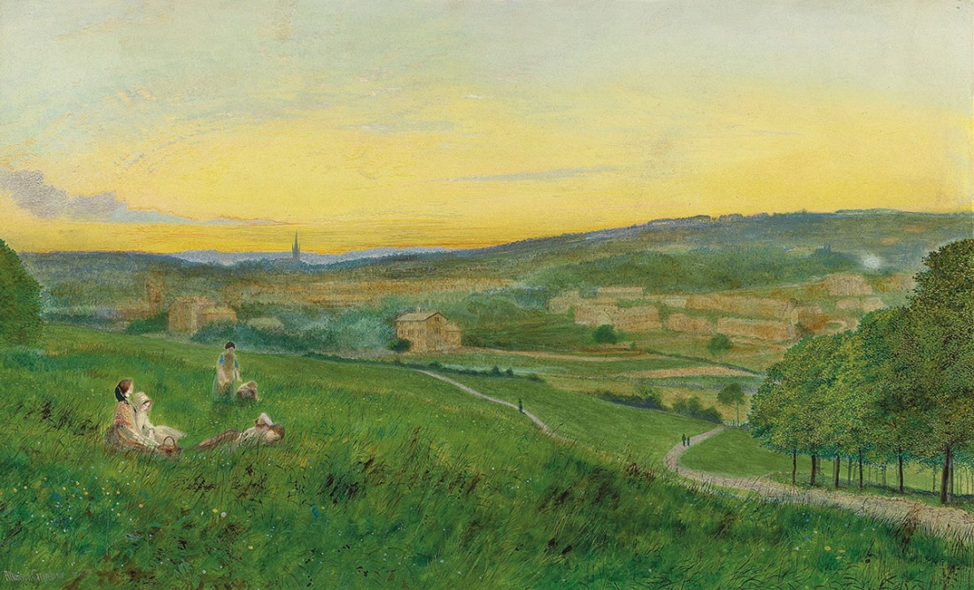 John Atkinson Grimshaw (1836-1897) Leeds from Woodhouse Ridge, 1868 Pencil and watercolour, 10 ½ x 17 ½ ins, 273 x 445 mm Leeds City Art Gallery, bought with the assistance of the Leeds Art Fund, 2013. Photo courtesy of Leeds Museums and Art Galleries Click on image to view at full size.