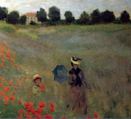 Claude Monet Wild Poppies near Argenteuil, 1873 (detail of woman and child, foreground right) Musee d'Orsay, Paris