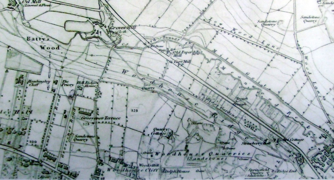 Woodhouse Ridge: Ordnance Survey of 1851 Neither Cliff Road nor Grimshaw's House had yet been built. The site is the second field to the right of Grosvenor Terrace. Grimshaw's viewpoint is at the top left of the map. Click on image to at view full size.