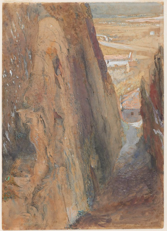 John Ruskin Bellinzona: The Salita della Nocca going up to Montebello Castle, 1858 Pencil and watercolour on off-white wove paper, 8 1/2 in. x 6 1/16 in, 216 x 154 mm Bowdoin College Museum of Art, Brunswick, Maine, USA, Gift of Miss Susan Dwight Bliss 1956.24.257 as 'Bellinzona' This drawing has long been identified as Bellinzona, but the viewpoint is here precisely identified for the first time. This study is a concentrated study of the rock face to the left. Ruskin also had his assistant Frederick Crawley take a daguerreotype photograph of an even smaller area of the rock face. Photograph courtesy of Bowdoin College Museum of Art To view this image in Bowdoin's own online catalogue, please click on the following link and use your browser's 'back' button to return to this page: http://artmuseum.bowdoin.edu/Obj4217?sid=27317&x=16552